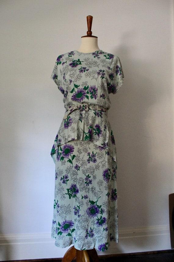 1940's Handmade Floral Peplum Dress