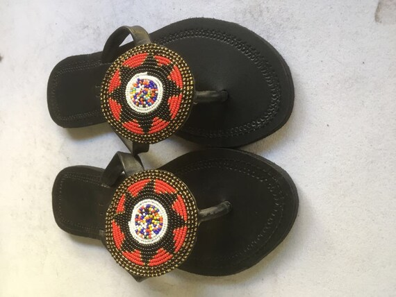 e12c903a94c3c African Beaded Maasai Leather Sandals For Women Boho Sandals