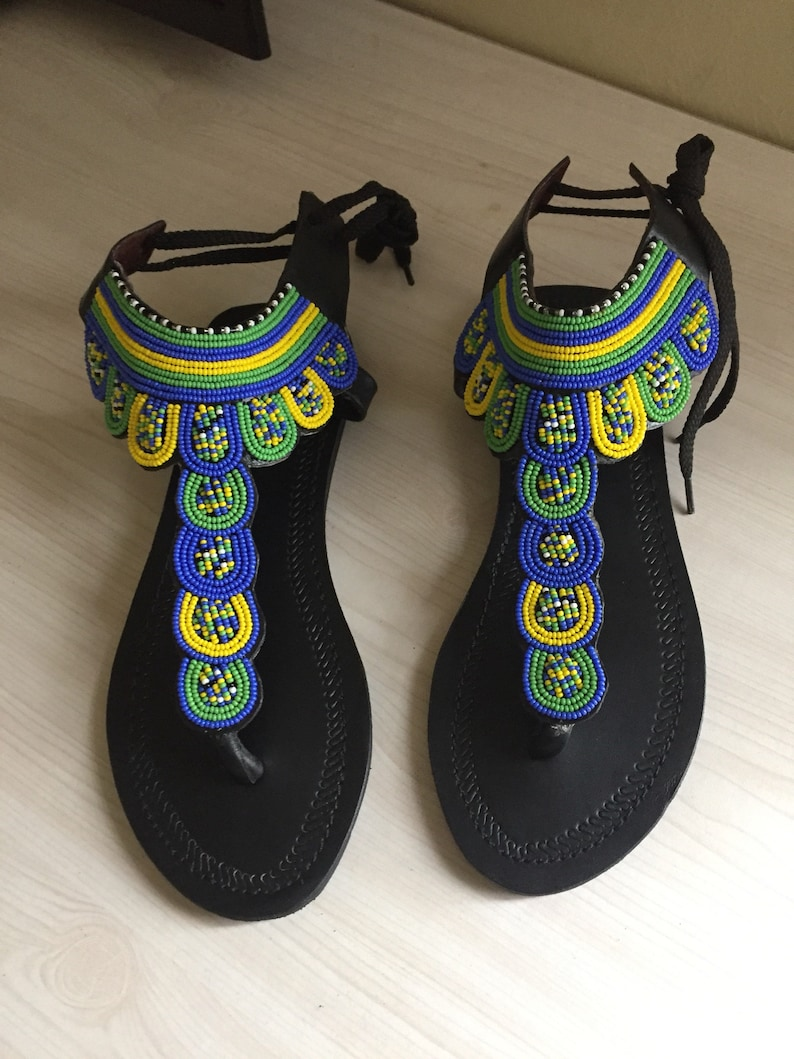 3ffe24422152b Maasai Beaded Leather sandals Colorful Tstrap sandals for