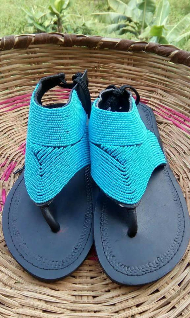 a63d0a3d68f ON SALE Beaded African Maasai Leather Sandals Slip on