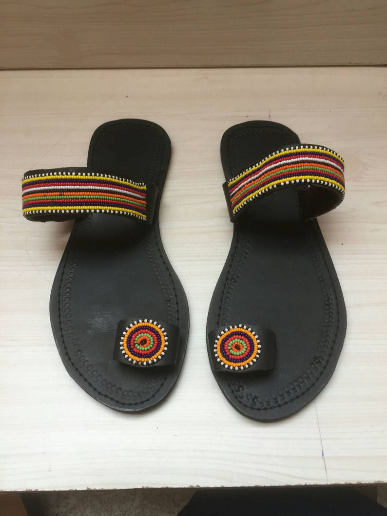0ddf6e8ce8b6 African maasai leather sandals  Women Leather sandalsFlat