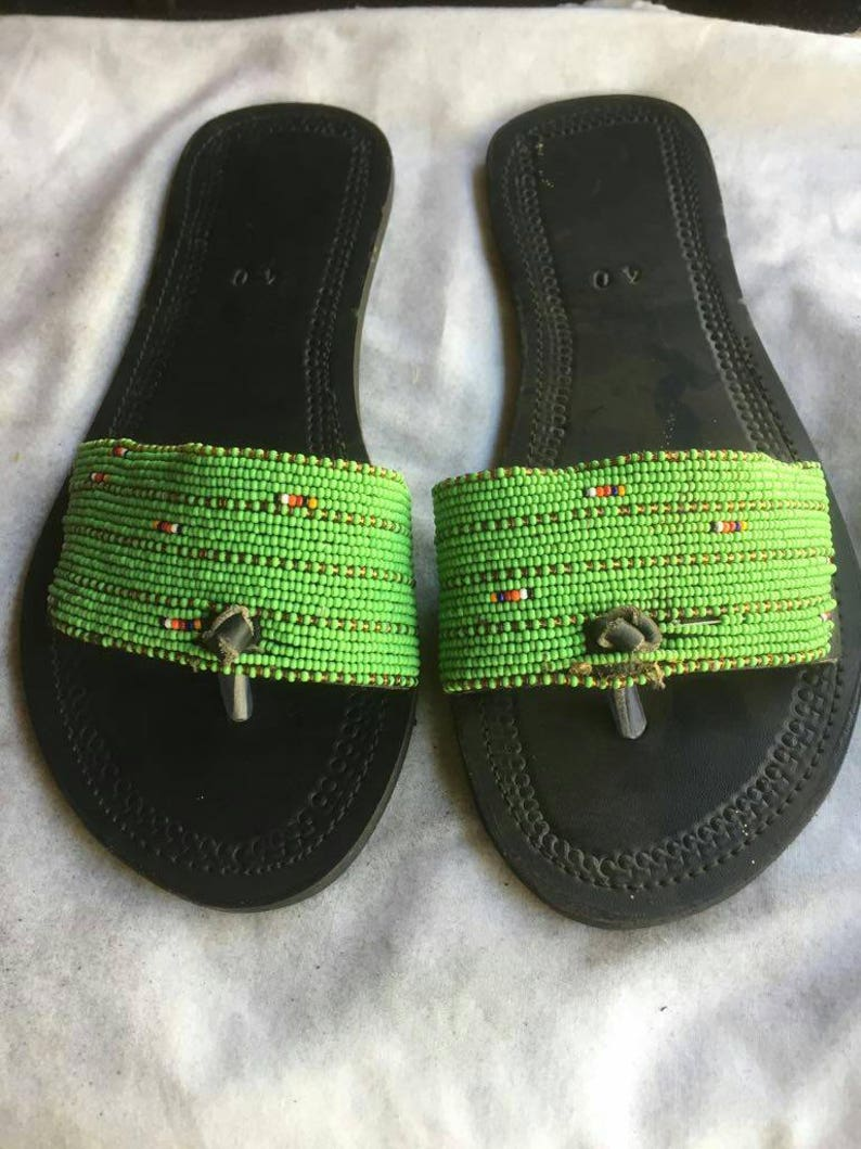 4ce61b47b25e2 Black African Maasai Beaded Leather Sandals Peep Toe shoes