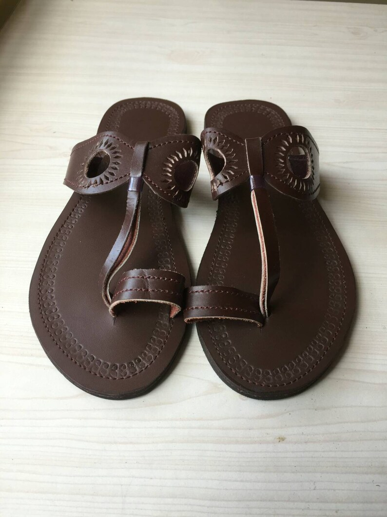 aec910940b6 African Brown sandals unisex Leather sandals Bead sandals