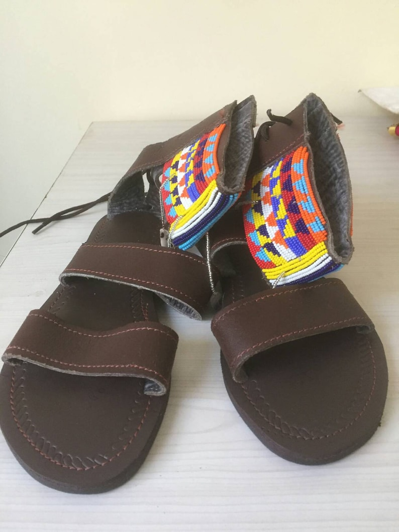 8684dd957ea98 African Maasai Gladiator sandals Masai Leather Beaded