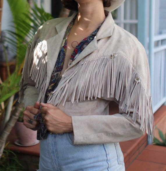 Fringe Suede Leather Jacket beige size S-M