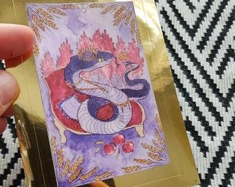 The Empress - Herpetology Tarot sticker, metallic gold frame