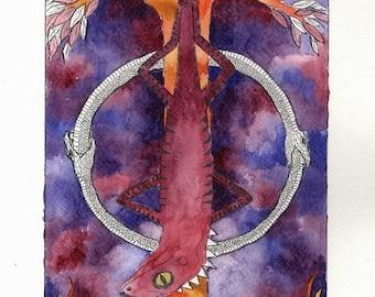 The Hanged Man - Herpetology Tarot Print