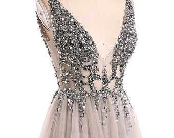 Evening Dress 2019. V-Neck Beads Open Back prom dress. A Line Long Evening  Dresses.Tulle Prom Gowns. 124e8125dab4