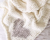 PREORDER Jillian Harris x Etsy Chunky Knit Chenille Heart Blanket with Pom Poms Ivory with Oatmeal heart, Vegan Chunky Knit Heart Blanket