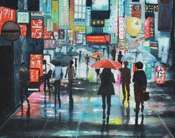 Watercolor of the neighborhood of Shibuya (Japan)