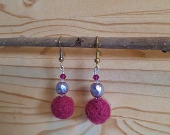 Pink felted earrings