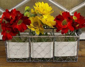 Chicken wire basket with (3) Square Glass Jar and Linen Wrap
