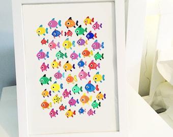 Tropical Fish A4 Art Print