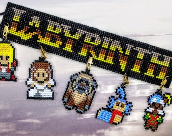 Labyrinth 8 bit beaded charm bracelet/Jareth/Sarah/Ludo/Ello/Didymus/Hoggle/muppets/geek/nerd/80s/movie/cult classics/fan/retro/David Bowie