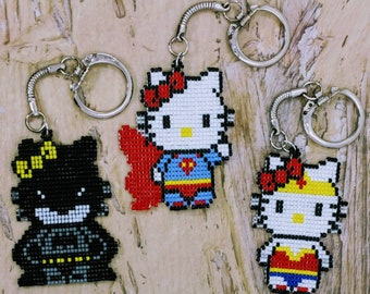 Superhero Kitty keychains/Superman/Batman/Wonder Woman/Hello Kitty/8 bit/bead/pixel/backpack charm/geek gift/nerd/retro/handmade/fan