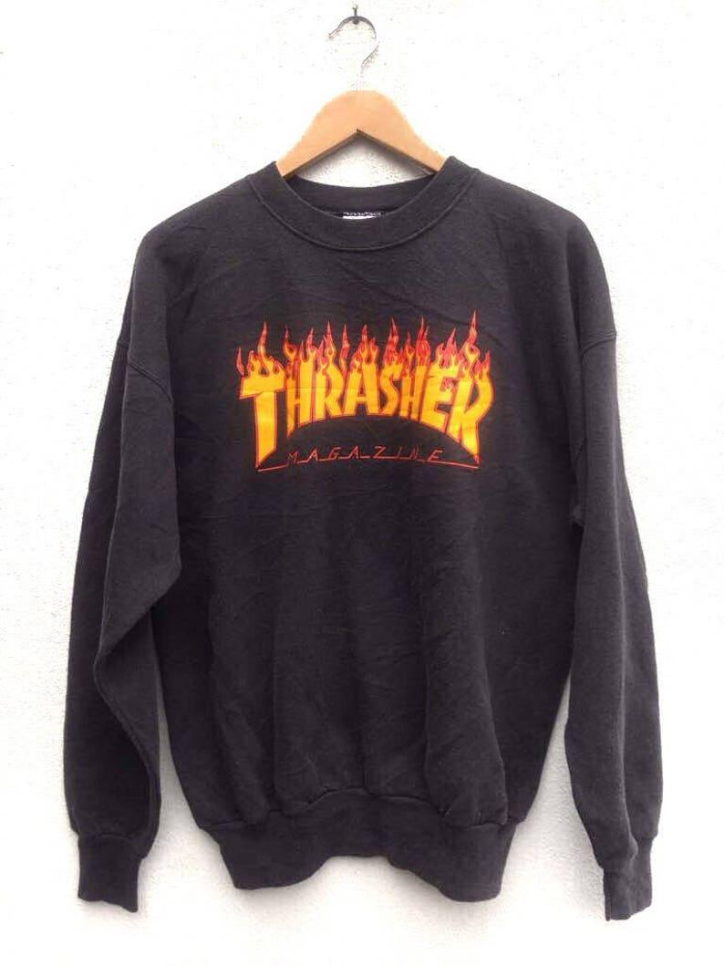 49b3738ffc62 Vintage 90 s Thrasher Magazine Flame Logo Skateboarding