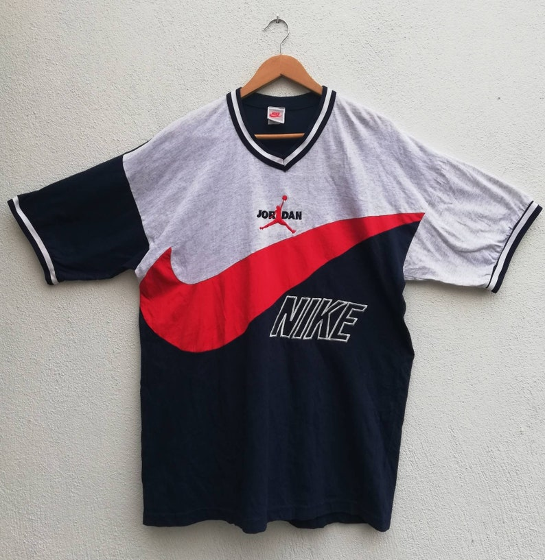 afb571bb0a896 Rare Vintage 90's Nike Air Jordan Big Swoosh Logo Block T-shirt multicolor  colorblock streetwear hypebeast swag hip hop rap Size L