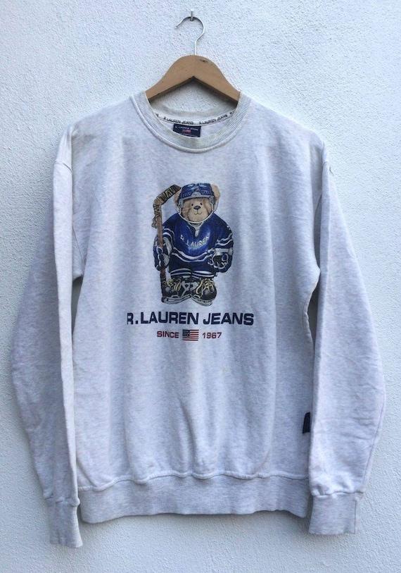 Vintage Ralph Lauren Polo Bear Hockey Ice Sweatshirt polo   Etsy 6553de9257