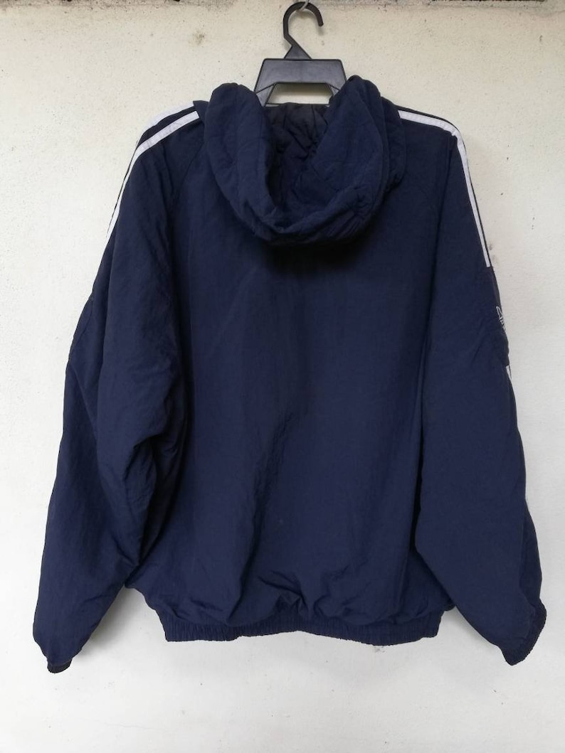 Vintage 90's Adidas Trainer Hoodie Jacket Trefoil Logo Three Stripes Navy Blue Size L XL