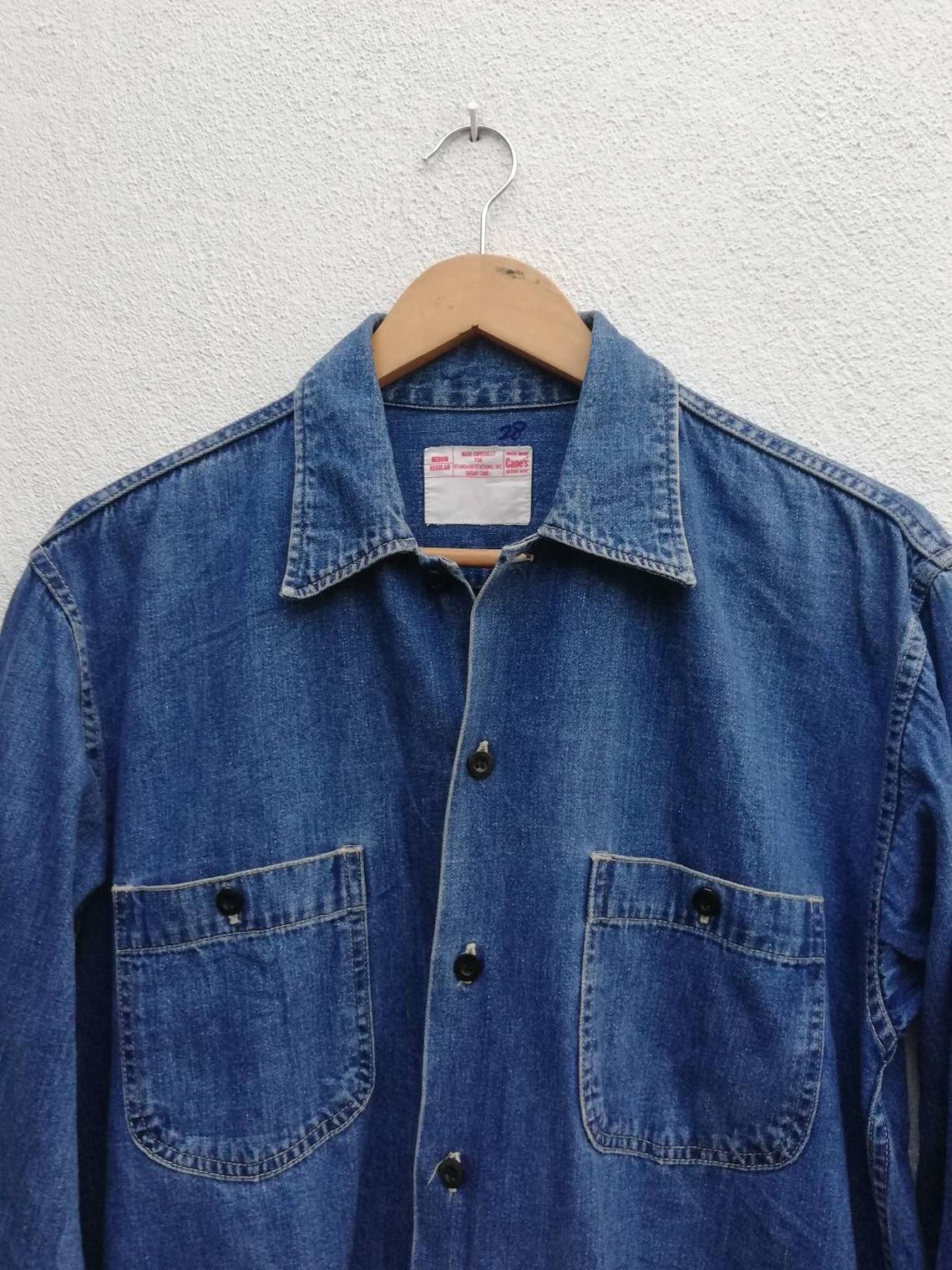 91f590b2d61 Vintage Sugar Cane Japan Denim Selvedge Worker Shirt Union