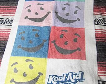 SALE Vintage Kool-Aid Man Beach Towel / White, Multi Colored, Promo