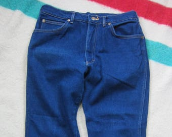 34 Waist x 32 Inseam, 70s Lee Riders Poly-Cotton / Made in USA, Creased Front, Cowboy Disco Jeans, 34 x 32