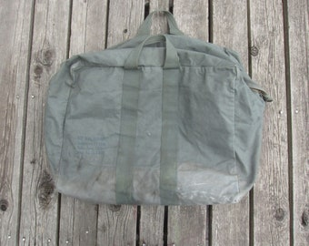 677b5bbe7872a6 Vintage 70s US Army Flyer's Kit Bag / Aviator's Kit Bag, Cotton Canvas  Duffel, Tote, Olive Green, Tool Bag, Helmet Bag