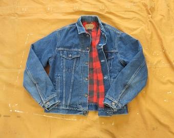 Rockabilly Medium Wash Jean Jacket Size Small to Medium 1970s Dickies Branders Coat Vintage 70s Denim Button Front Trucker Jacket