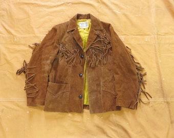 Vintage unisex 1970\u2019s pioneer wear suede fringed jacket