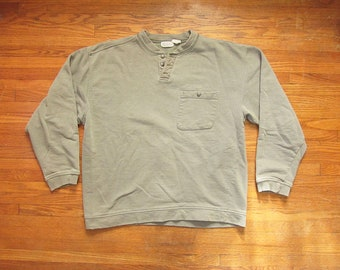 a21ccb624 Medium 90s Banana Republic Henley Sweatshirt / Button Neck, Pocket Tee,  Green Gray Plain Blank Solid Crew Neck, Thermal