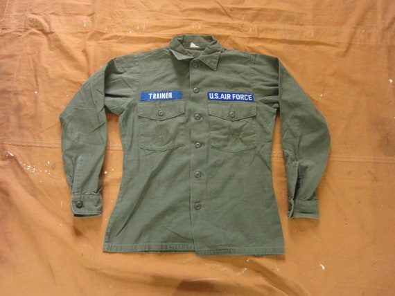 Small 70s US Air Force OG 107 Cotton Field Shirt /