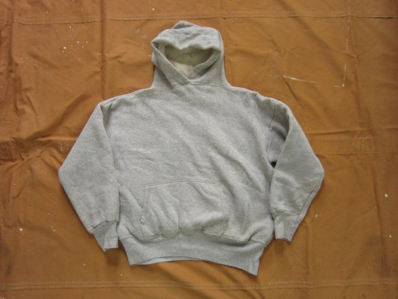 Small 60s Thermal Lined Cotton Hooded Sweatshirt /