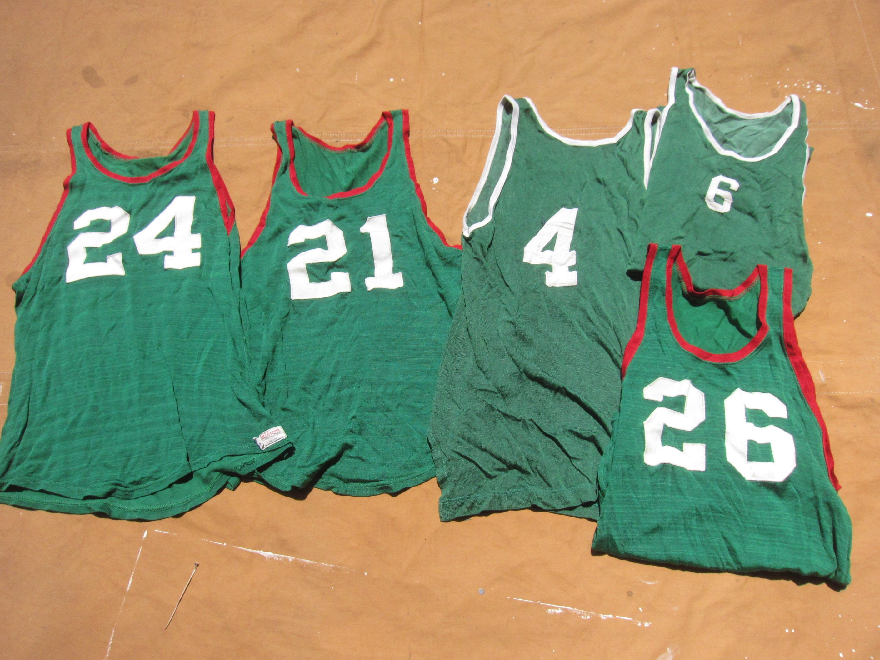 1950s Mens Hats | 50s Vintage Men's Hats xsSmall 60S Nylon Basketball Jersey Green, Red, Durene, Patch Numbers, 1960S Wilson, 1950S 50S, Sleeveless, Tank Top Tee T-Shirt $35.00 AT vintagedancer.com