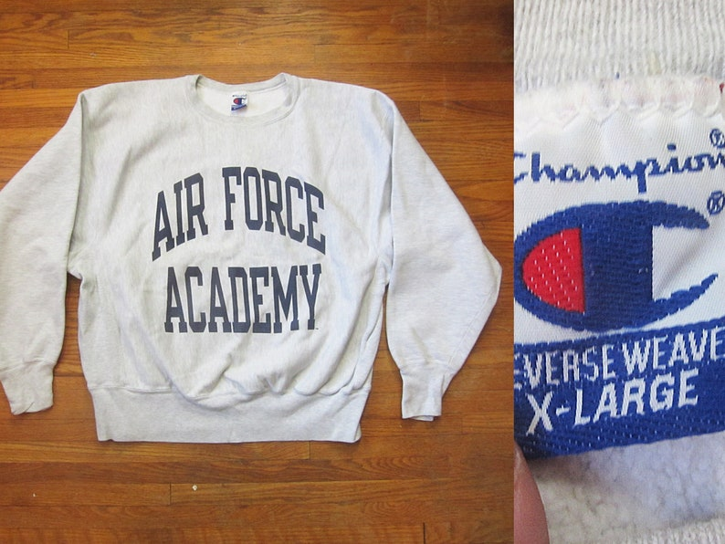 Large 90s Champion Air Force Academy Reverse Weave Sweatshirt Gray, Grey, Crew Neck, Military, Army, USAF USAAF 1990s