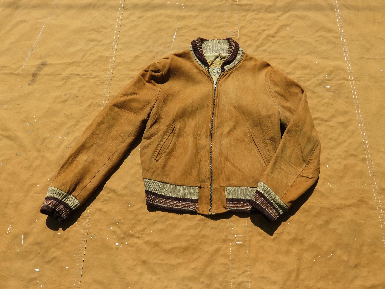 1950s Mens Hats | 50s Vintage Men's Hats SmallMedium 50S Brown Suede Bomber Jacket Zipper Zip Up, Leather, 1950S, Kurland Star, Shawl Collar $120.00 AT vintagedancer.com