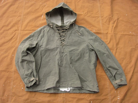 XL 40s / 50s US Navy Canvas Rain Parka / Hooded Ho
