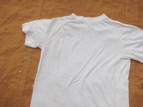 XS / Small 70s Raglan Blank White T-shirt / Poly … - image 10