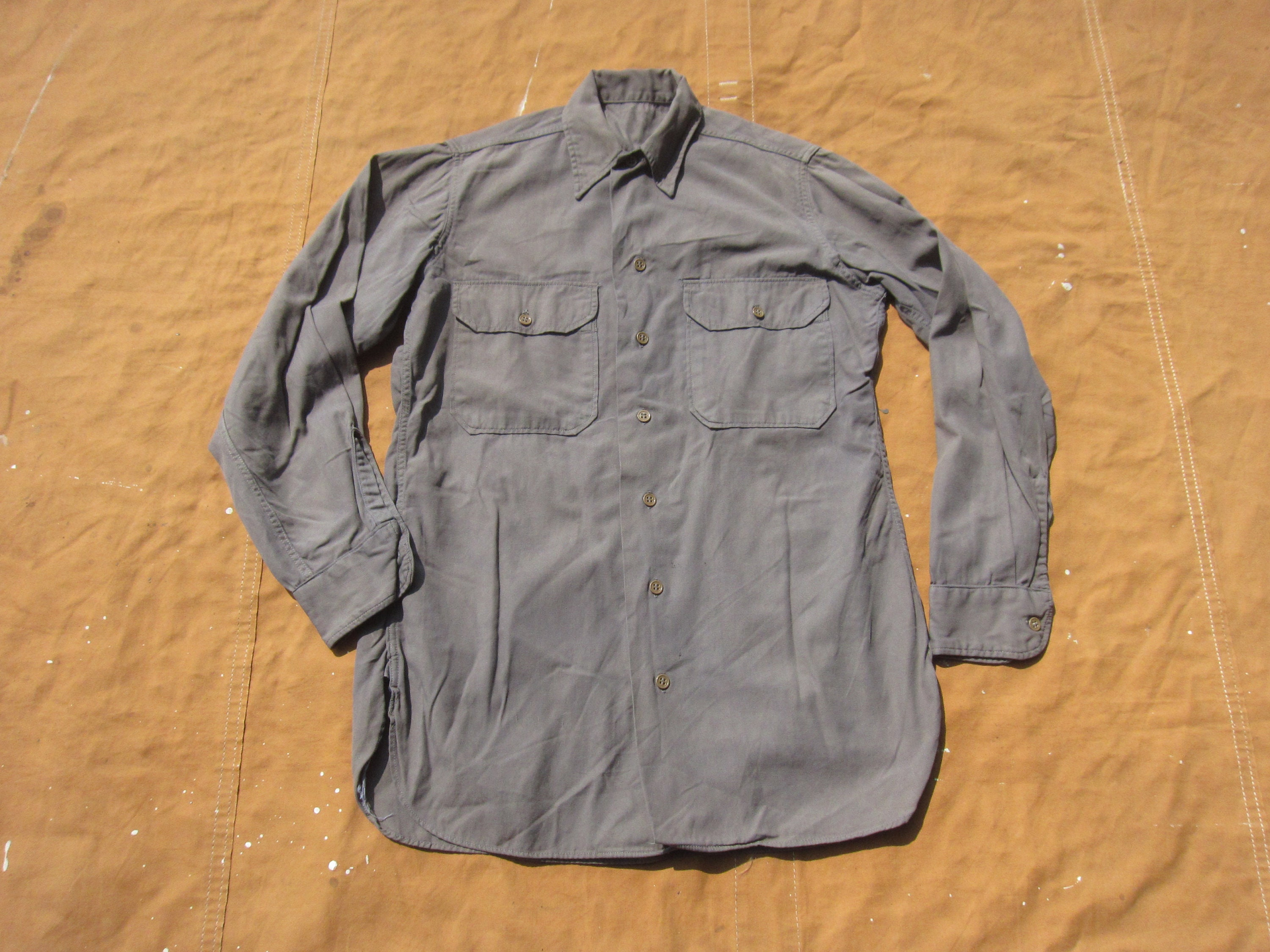 1940s Men's Shirts, Sweaters, Vests Small 50S Us Army Overdyed Button Down ShirtGrey Gray Dyed, Unique Custom, Work Shirt, 100 Cotton, 1940S 40S 1950S $0.00 AT vintagedancer.com