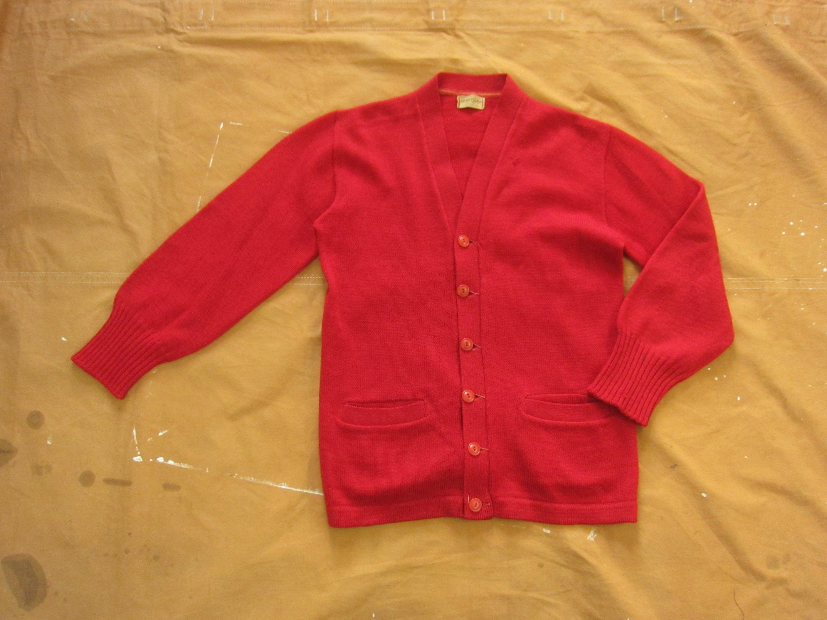 New 1930s Mens Fashion Ties Small 30S Jc Penney Wool Cardigan SweaterSportclad, Button Down, V Neck, 1930S 1940S Penneys $0.00 AT vintagedancer.com