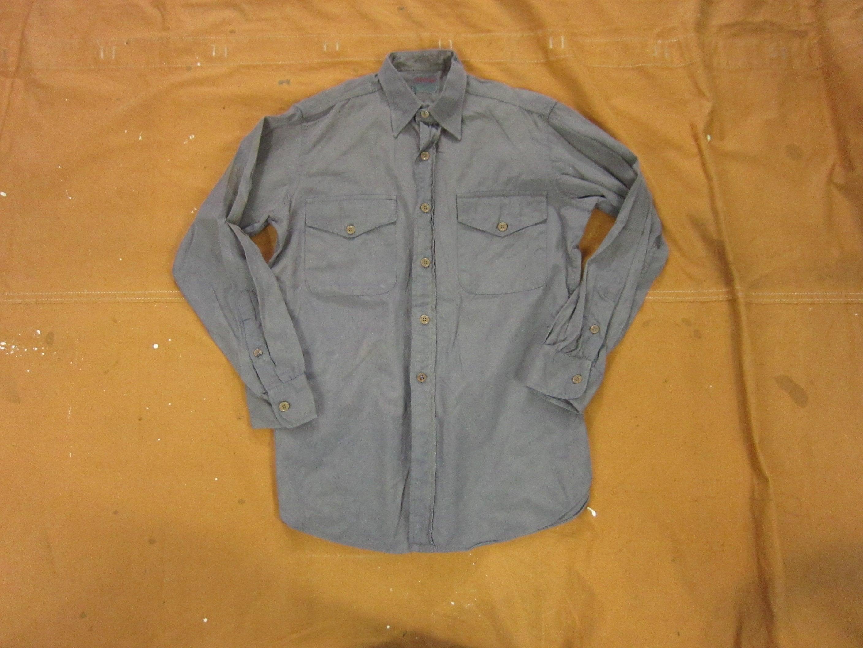 1940s Men's Shirts, Sweaters, Vests Medium 50S Us Navy Overdyed Gray Button Down Work ShirtPoplin, 1940S 40S 1950S, Uniform $45.00 AT vintagedancer.com