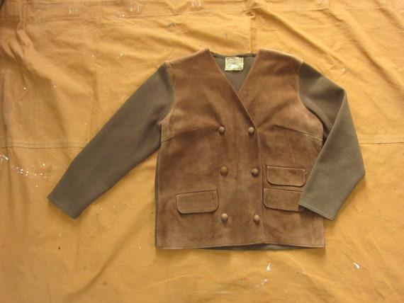 Medium 50s / 60s Women's Leather & Wool Double Bre