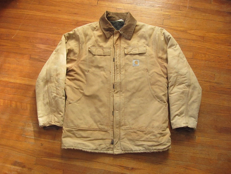 f026d351cab3a Large / XL 80s Carhartt Brown Duck Canvas Insulated Jacket /   Etsy