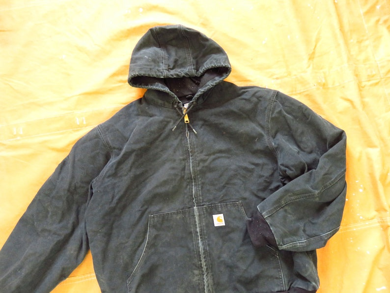 Hoodie 1990s Lined Detroit XXL 90s Carhartt Black Hooded Jacket  Canvas Distressed Faded XL Made in USA