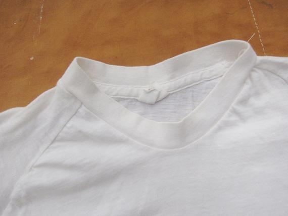 XS / Small 70s Raglan Blank White T-shirt / Poly … - image 3