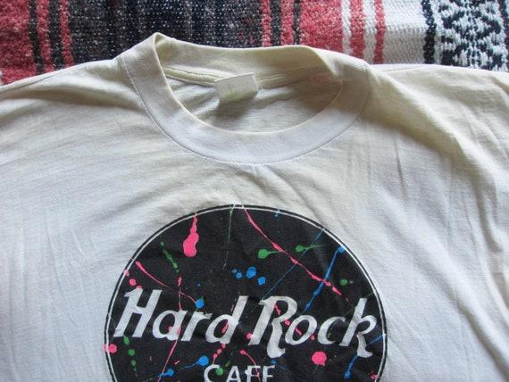 Large Xl Hard Rock Cafe Splatter Paint 80s 90s White T Shirt Single Stitch Thrashed Paper Thin St Maarten