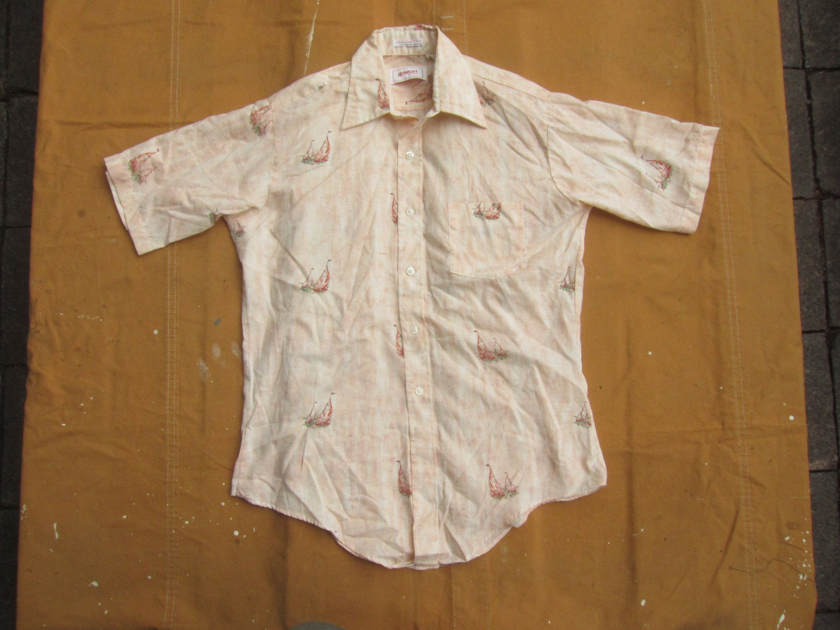 1970s Mens Shirt Styles – Vintage 70s Shirts for Guys MediumLarge 70S Sailing Boat Pattern Print Shirt Short Sleeve Button Up Down, Collared, Target Corporation, Minneapolis Mn, 1970S $0.00 AT vintagedancer.com