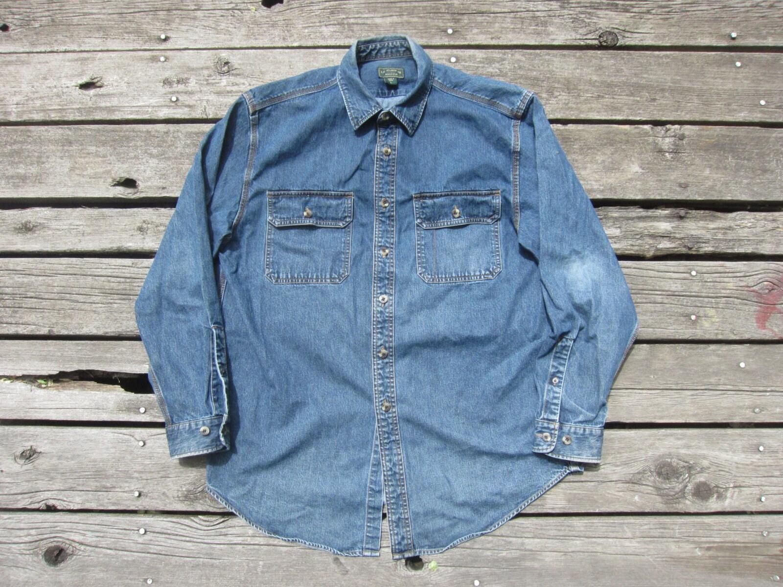 f5acb214d Large / Medium CC Filson Denim Work Shirt / Triple Stitched, Button Up  Down, Collared Collar, Blue Indigo Cotton