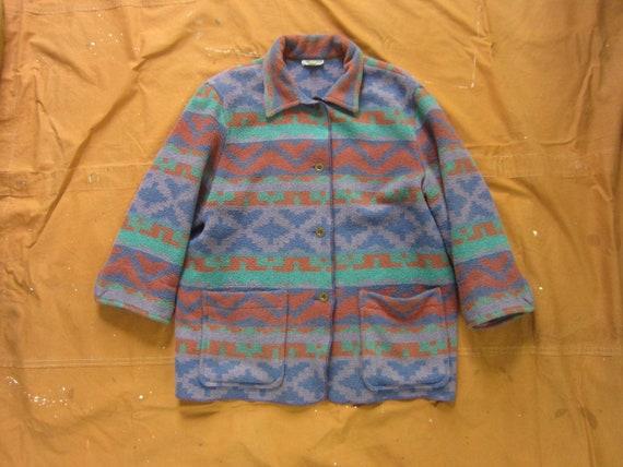Small / Medium 80s Southwestern Camp Blanket Coat