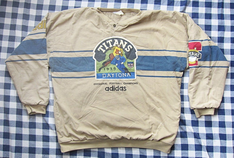 XL 80s Adidas Daytona Titans 1939 Throwback Jersey   Quilted  ced16077e