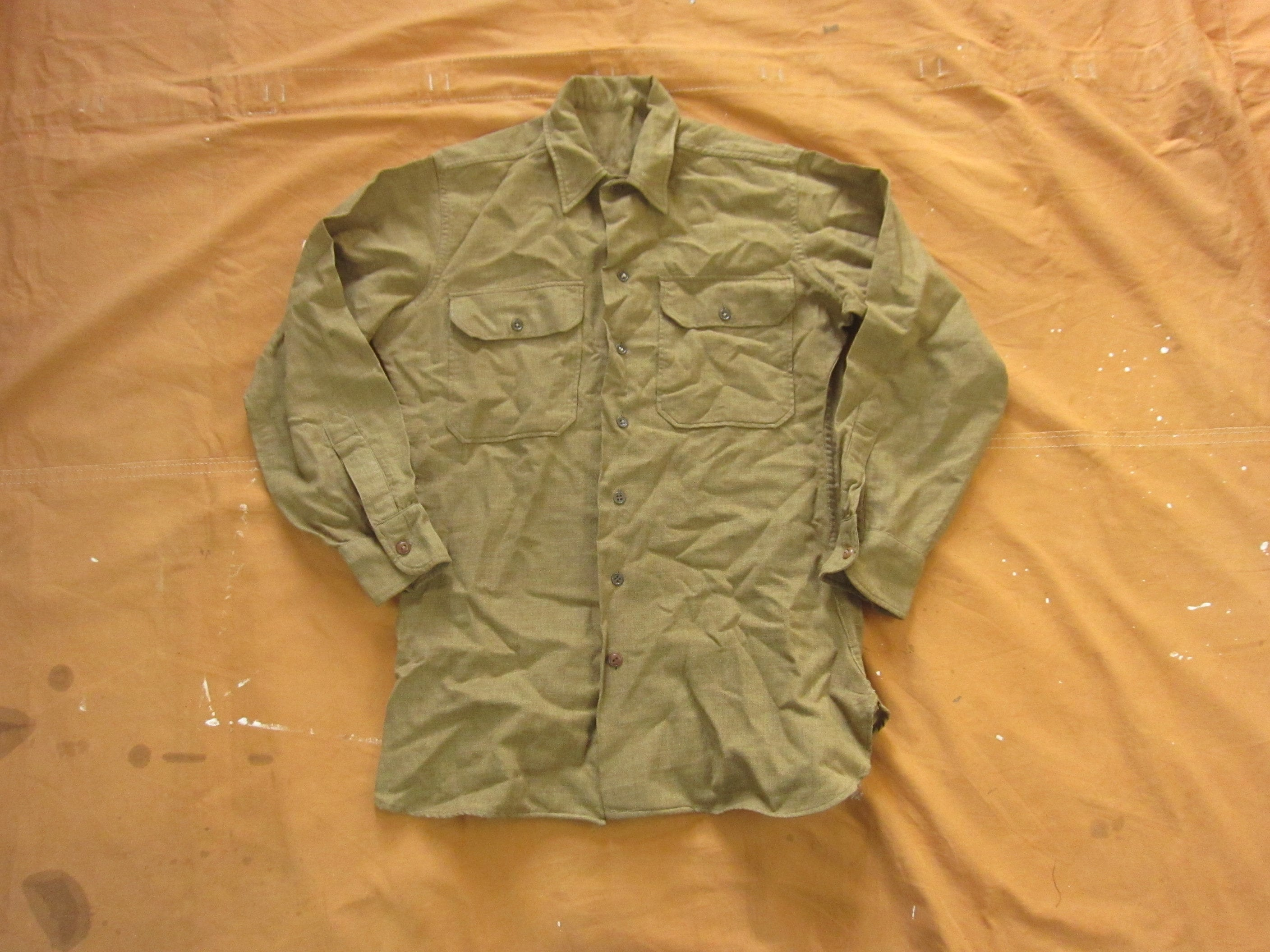 1940s Men's Shirts, Sweaters, Vests Small 40S Us Army Wool Uniform ShirtTwill, Green, Button Up Down, 1940S Ww2 Wwii $0.00 AT vintagedancer.com